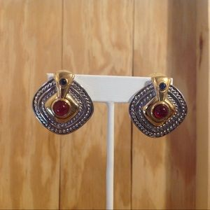 Silver and Gold Tone Square Style Clip Earrings